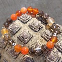 cornaline - quartz fumé bracelet