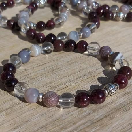Grenat -agate rubanée bracelet